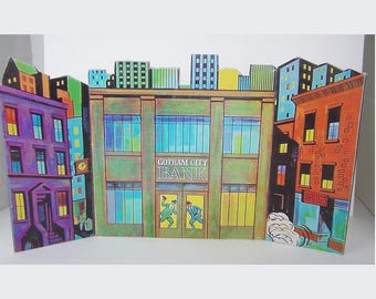 1966 Ideal Batman and Robin set GOTHAM CITY BACKGROUND reproduction Only At SEARs