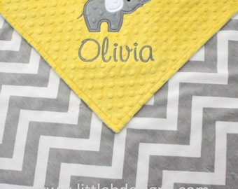 Personalized Baby Blanket with Elephant Applique - Canary Yellow with Gray and White Chevron Mink Blanket