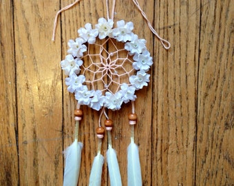 "3"" Floral Cream & Peach Dream Catcher"