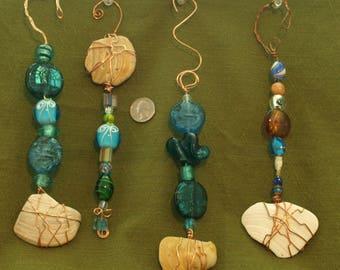 Seashell and glass twisted wire suncatchers