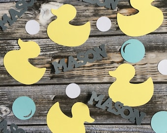 Personalized baby shower rubber duckies confetti/ duck theme birthday confetti/ ducky table scatters/ gender neutral/ baby boy