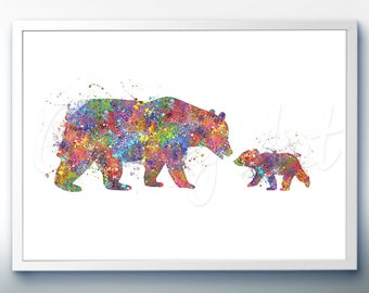 Mother Bear and Cub Watercolor Art Print  - Wildlife Watercolor Painting - Bear Watercolor Art Painting - Wildlife Poster-House Warming Gift