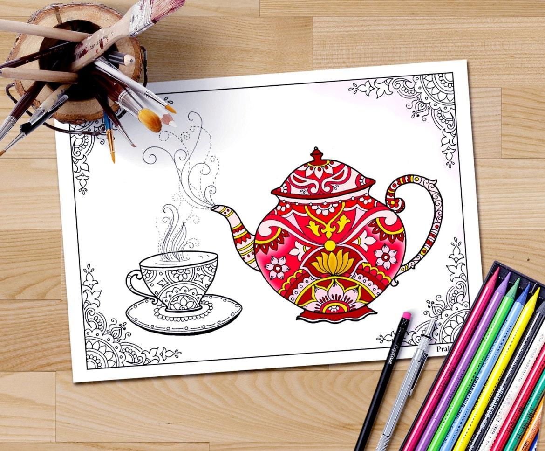 Erwachsenen Färbung Seite Download Tee Zeit Färbung