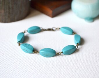 Father's day gift Men's turquoise bracelet mens turquoise bracelet mens bracelet beaded bracelet men gift for him stone bracelet men jewelry