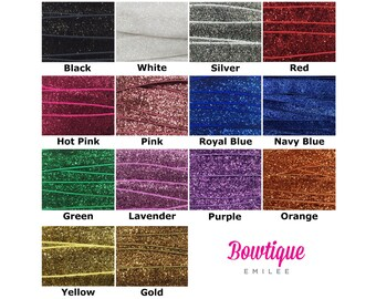"""Glitter Foldover Elastic Wholesale, Glitter Elastic for Headbands and Hairties, 5/8"""" Glitter FOE By the Yard, 5 yards or 10 yards 14 Colors"""
