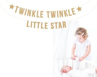 TWINKLE TWINKLE Little Star Garland Photo Prop. Nursery Banner. Baby Shower Banner, Baby Banner, Baby Room, Baby Nursery, Baby Shower Banner