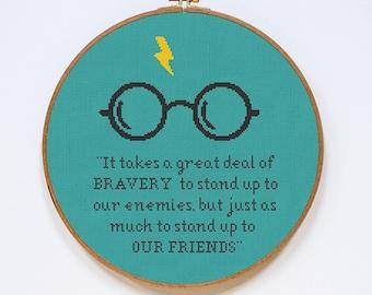 Harry Potter Cross Stitch Pattern, Bravery Quote Cross Stitch Chart, PDF Format, Instant Download