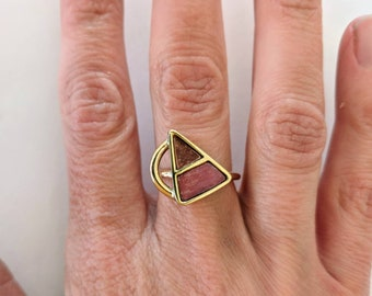 Handmade brass and copper triangle statement ring.