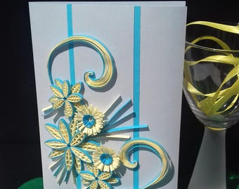 Personalised Quilling Card, Quilling Greeting Card, Boxed Greeting Card, Floral Greeting Card, 1st Anniversary Card, Blabk Greeting Card