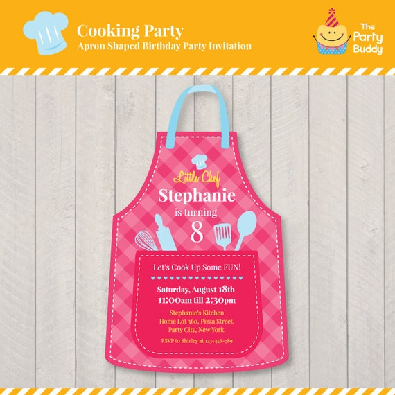 Cooking Party Birthday Invitation Design Girls Little Chef Party