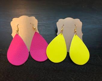 Neon Leather Earrings