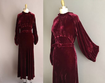 30s rare red wine art deco silk velvet bridal wedding dress Medium vintage dress 1930s gown with bell sleeves