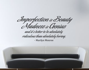 Marilyn Monroe Wall Decal Vinyl Imperfection Is Beauty Quote Living Room    Bedroom Decor   Wall Decor   WD0175