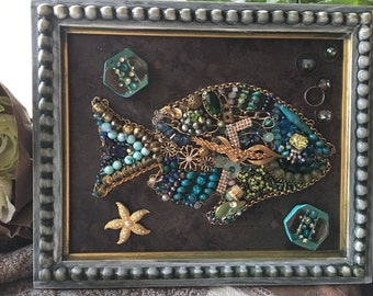 I love fish, At the Lake, Koi Fish picture, Vintage beads and jewelry decorative fish, nautical theme. Cottage decoration