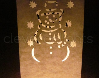 30 White Luminary Bags - Snowman Design - Christmas, Holiday, Wedding Party Decor - Flame Resistant Paper - Candle Bag - Luminaria