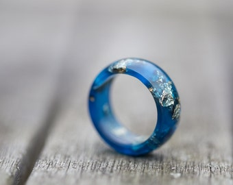 Deep Blue Resin Ring Men Women Ring Gold Flakes Big Size Smooth Ring OOAK denim navy blue jean minimalist jewelry