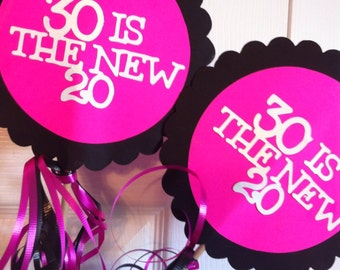 30th Birthday  Decorations Centerpiece Signs with Personalized Text