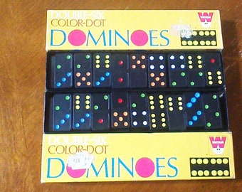 Vintage Whitman Double Six Color Dot Dominoes Game 100% Complete with 28 Dominoes Board Game