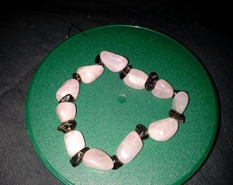 rose and smoky quartz stretch bracelet