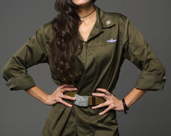 1970's MILITARY STYLE VINTAGE Italian Women's Army Green Field Shirt