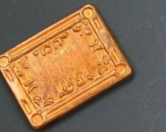 """Copper stamping. Vintage copper decorative rectangle component. 3/4"""" x 5/8"""". Beadwork, Jewelry making, Jewelry supply."""