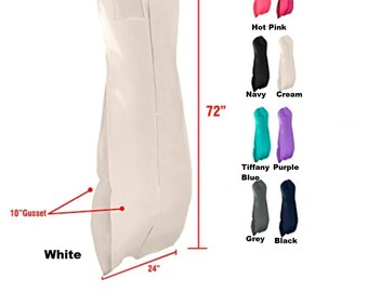 Personalized Gusseted Solid Color Xtra long Garment Bag -  For Bridal Wedding Gowns and Prom Dresses- Travel Folding Loop72x24x10