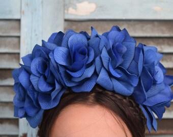 Classic Blue Flower Crown Headpiece - Wedding  - Day of the Dead - Sugar Skull - Carnival