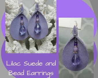 Lilac Suede Earrings, Lilac Beaded Earrings, Teardrop Earrings, Bohemian Earrings, Boho, Leather Earrings, Mother's Day Gift, Gift for Her