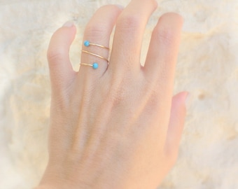 Opal ring- Rose Gold and white opal ring  / White Opal Ring / Blue Opal Ring / Turquoise Ring / Adjustable rings for women /