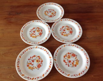 Set of 5 small plates Arcopal FRANCE