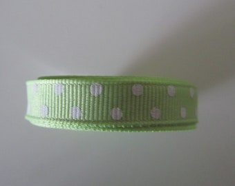 masking tape roll style grosgrain with lime green color dots