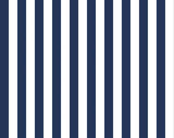 """Riley Blake 1/2"""" Narrow Stripes, White and Navy, fabric by the yard"""