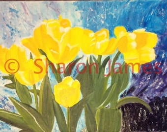 "Yellow Tulips, Original acrylic painting by Sharon James, 18""x24"""