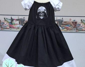 Star War Dress, Darth Vader Peasant Style, Children Sizes, Twirl Dress, Coplay, Comic-Con, Dress-up, Photo Shot, Birthday Disney