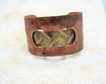 Wide Copper and Brass Cuff Bracelet