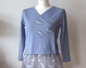 Ice blue cardigan with wide vintage lace, Criss cross cardigan tunic, Couvert artsy clothing shrug, blue wedding cardigan, summer bolero