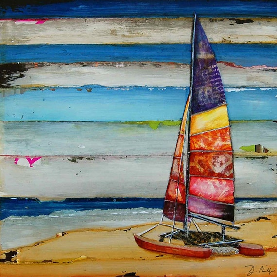 ART PRINT or CANVAS Sailboat sailing vintage Beach ocean home decor summer wall art retro wedding valentines gift poster painting, All Sizes