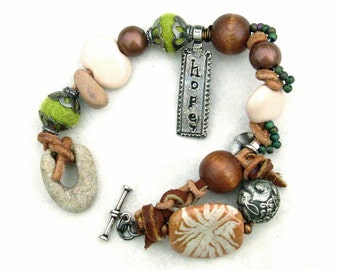 Mixed Media Woodland Bracelet Garden Hope Owl Rabbit Silver Kazuri Pewter Copper Stone Green Nature
