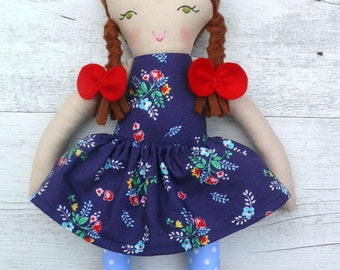 "Rebecca - Handmade rag doll, 38cm (15""), fabric doll, cloth doll, gifts for girls."