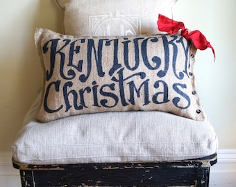 Kentucky Christmas Burlap Pillow - free shipping- (or your custom state) - state pillow - merry christmas decor - outdoor pillow