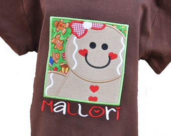 Personalized Gingerbread Girl Christmas Kids Shirt