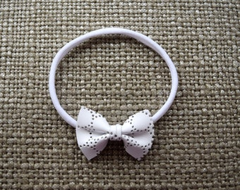 White EYELET Leather Bow Headband ONE SIZE fits All for Newborn Baby Little Girl Child Adult Headwrap Pretty Blessing Baptism All White Bow