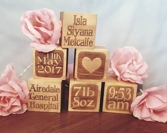 Personalised wooden laser engraved building blocks