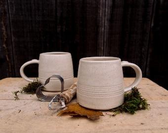 handmade cup, stoneware speckled cream