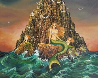 The Mermaids Ocean Goddess Art Original Acrylic Painting Mythology Surreal Fairytale Art
