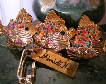 Belt buckle, womens, vintage, Mimi di N, fish belt buckle, gold belt buckle, colorful, vintage, NOS, rainbow fish