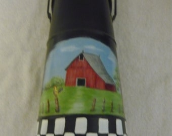 Hand Painted Metal Pitcher Decorated With Farm Seen With Red Barn