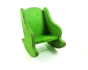 Chippy paint green rustic wood wooden rocking chair doll furniture collectible children's toy decor rustic chic country farmhouse display