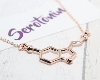 Rose Gold Serotonin Necklace, Serotonin Molecule Necklace, Rose Gold Jewelry, Serotonin, Chemistry Necklace, Molecular Structure Necklace