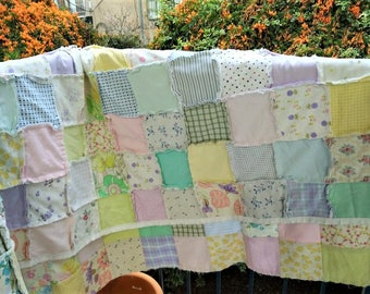Reversible Rag Quilt, Large Quilt, Ready to Ship, Spring Colors